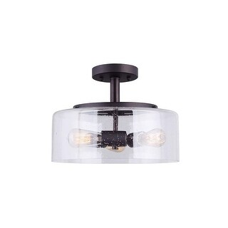"Canarm ISF633A03 Nash 3 Light 13"" Wide Semi Flush Drum Ceiling Fixture - Oil Rubbed bronze"