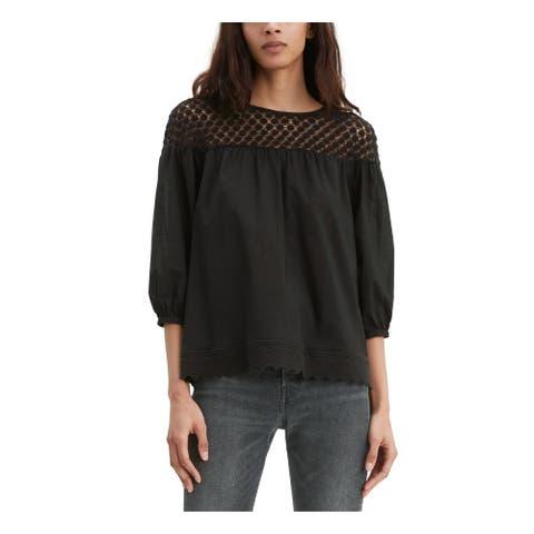LEVIS Womens Black Short Sleeve Jewel Neck Top Size S