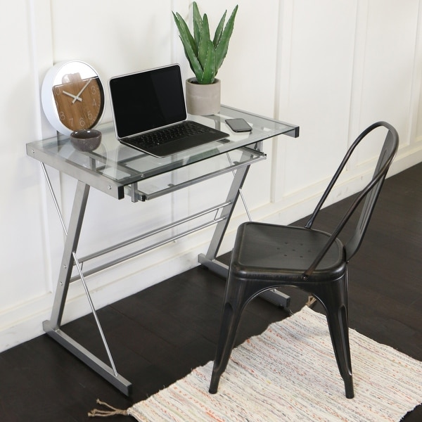 Metal and Glass Silver Computer Desk with Keyboard Tray. Opens flyout.