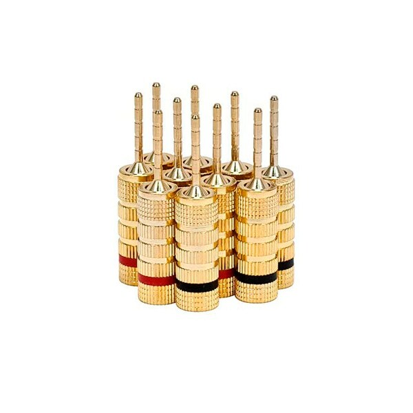 Monoprice 5 PAIRS OF High-Quality Gold Plated Speaker Pin Plugs Pin Screw Type