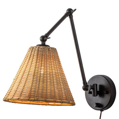 1-Light Black Finish Woven Rattan Plug-in Swing Arm Wall Sconce with ON/OFF Switch - Woven Rattan