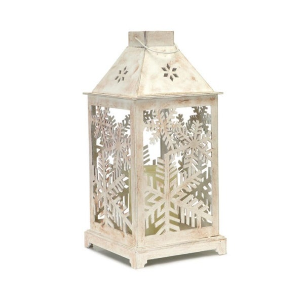 """13.5"""" Decorative Antique White Candle Lantern with Flameless LED Candle - N/A"""