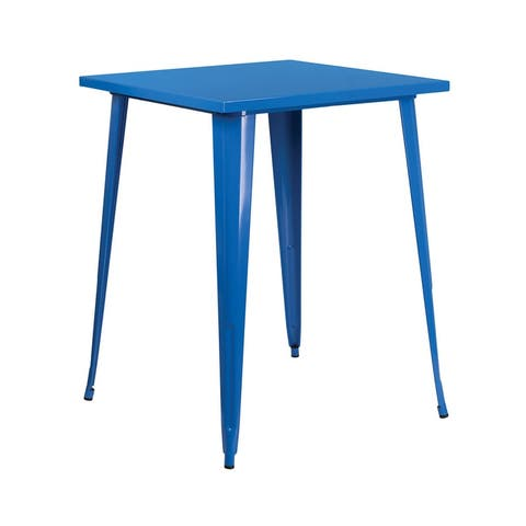 Offex 31.5'' Square Bar Height Blue Metal Indoor-Outdoor Table
