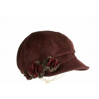 Betmar NEW Red Maroon One Size Floral Embellishment Newsboy Women's Hat 739