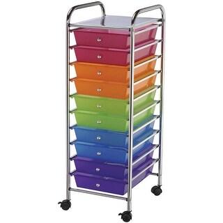 "Storage Cart W/10 Drawers-13""X38""X15.5"" Multicolor"