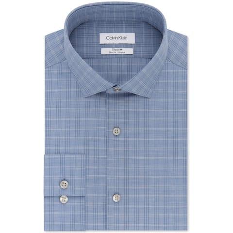 Calvin Klein Mens Stretch Blue Plaid Button Up Dress Shirt