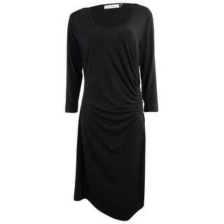Calvin Klein Women's Tucked Detailed Scoop Neck Jersey Dress
