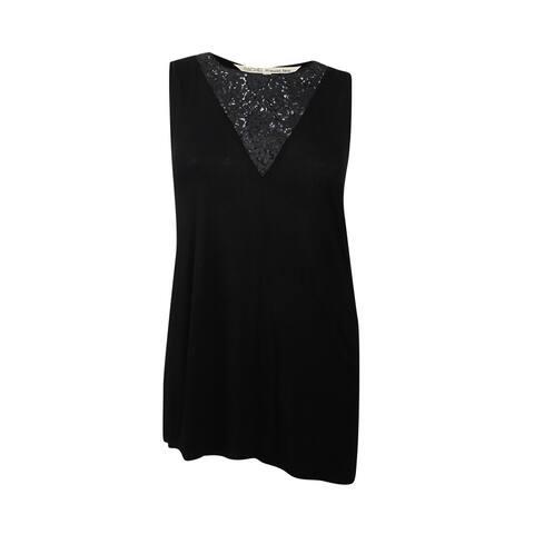 RACHEL Rachel Roy Women's Trendy Plus Size Lace-Inset Top - Black