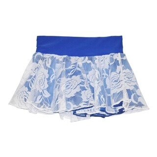 Girls Royal Blue White Floral Rose Lace Overlay Dancewear Skirt