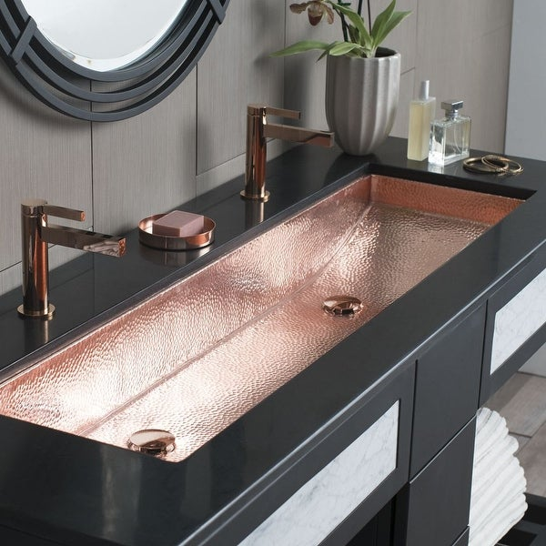 Native Trails Cps08 Trough 46 Single Basin Undermount Copper Bathroom Sink