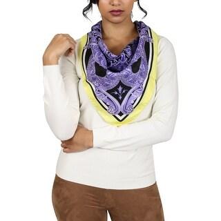 Versace Purple Barroco Medusa Print Silk Foulard Scarf