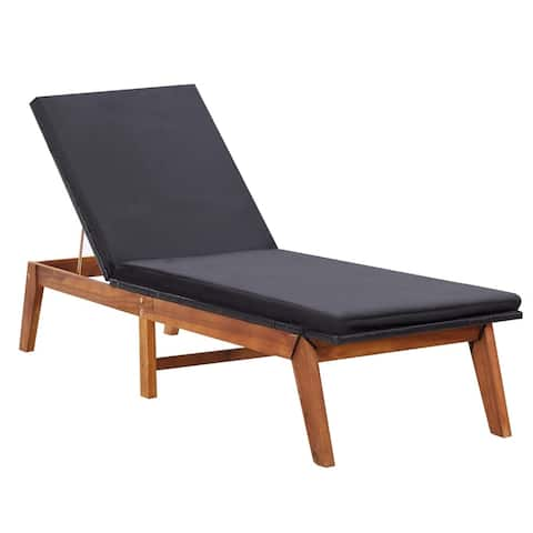 vidaXL Sun Lounger with Cushion Poly Rattan and Solid Acacia Wood