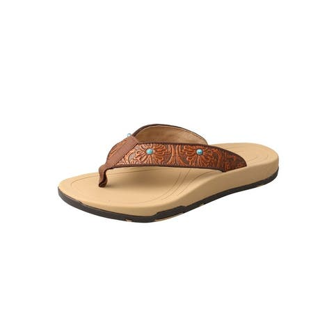 Twisted X Shoes Womens Sandals Flip Flops Leather Tan