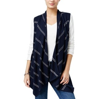 Tommy Hilfiger Womens Outerwear Vest Open Front Striped