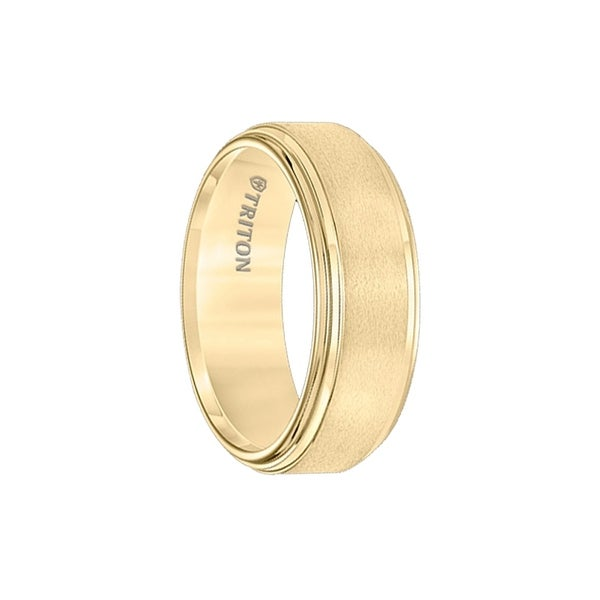 ARUN Polish Finished Double Step Edged Yellow Gold Plated Tungsten Band with Satin Center by Triton Rings - 8mm