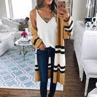 Autumn Winter Long Sleeve Knitted Long Casual Cardigans Outwear Women Sweater