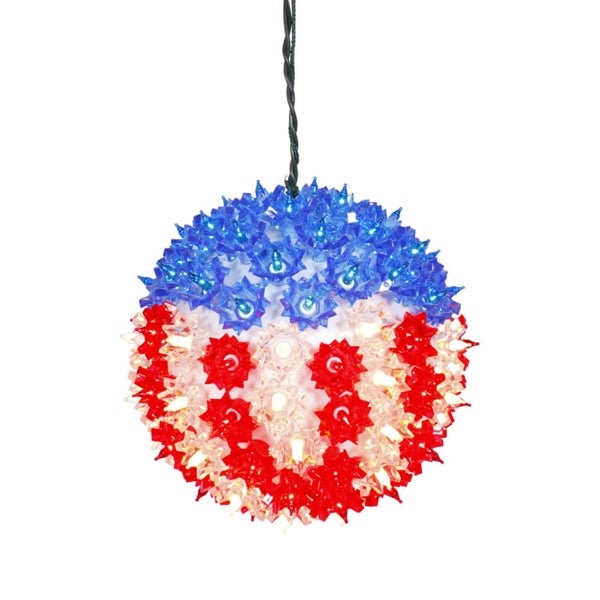 "7.5"" U.S.A. Flag Lighted Hanging Star Sphere Christmas Decoration"
