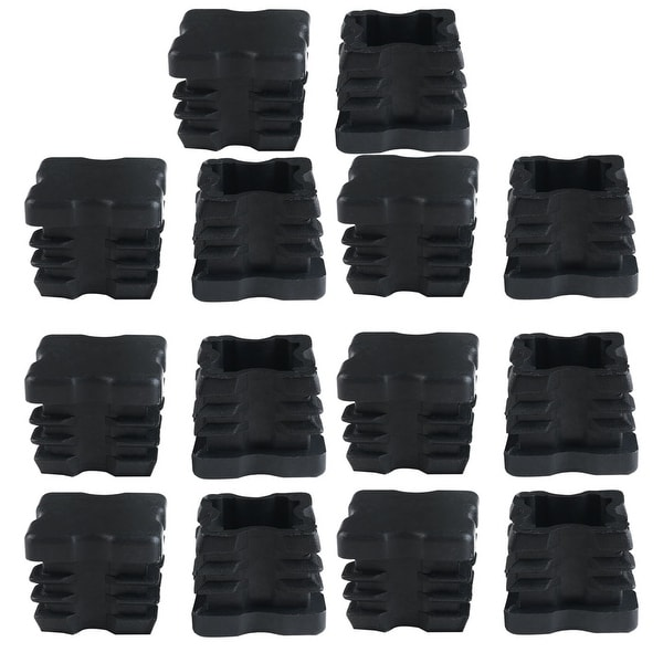 14pcs 25 x 25mm Plastic Square Ribbed Tube Inserts End Cover Cap