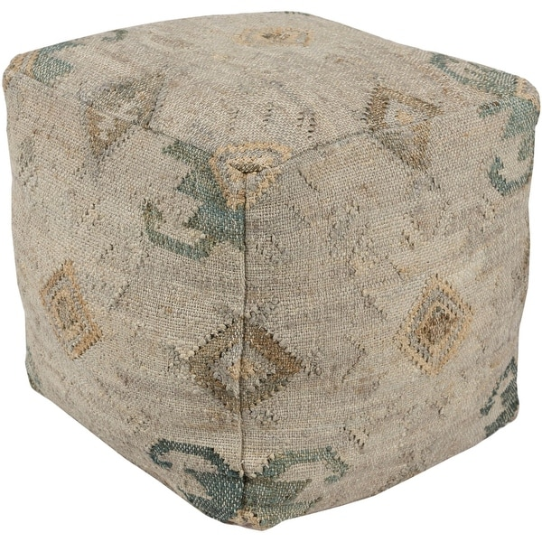 """18"""" Teal Green and Brown Geometric Patterned Square Pouf Ottoman - N/A"""
