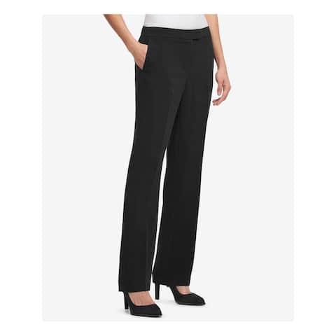 DKNY Womens Black Zippered Straight leg Wear To Work Pants Size 6