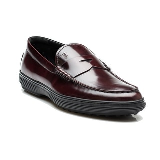 Tod's Men's Leather Mocassino Peter Loafer Shoes Burgundy