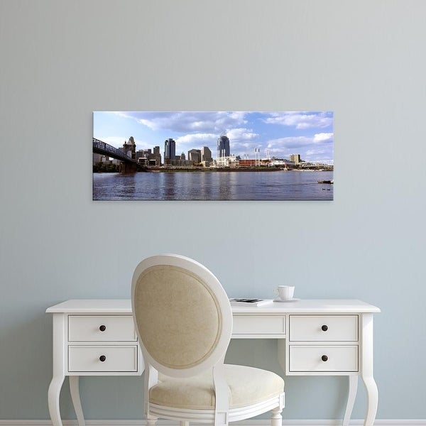 Easy Art Prints Panoramic Image 'City at the waterfront, Ohio River, Cincinnati, Hamilton County, Ohio' Canvas Art