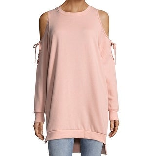 Solutions Pink Womens Medium M French Terry Cold-Shoulder Sweater