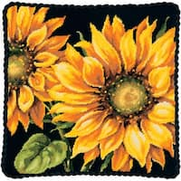 """Dramatic Sunflower Needlepoint Kit-14""""X14"""" Stitched In Wool"""