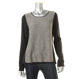 T Tahari Womens Wool Mixed Media Pullover Sweater - M