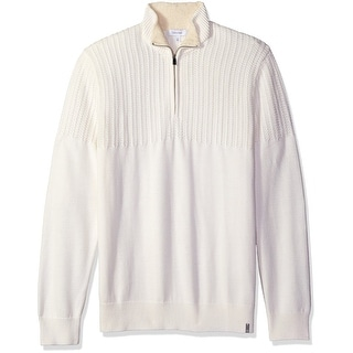 Calvin Klein NEW White Ivory Cable Knit Mens 2XL Quarter Zip Sweater