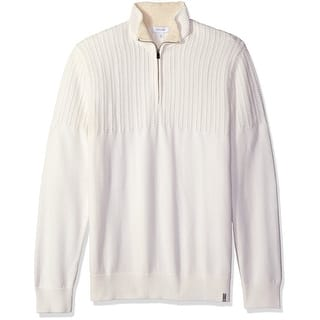 Calvin Klein NEW White Mens Size Small S 1/2 Zip Textured Yoke Sweater|https://ak1.ostkcdn.com/images/products/is/images/direct/2a0b60bdf355633bdf94c23930499a7190b3a8cf/Calvin-Klein-NEW-White-Mens-Size-Small-S-1-2-Zip-Textured-Yoke-Sweater.jpg?impolicy=medium