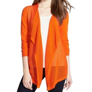 Chaus NEW Orange Draped Open-Stitch Women's Size XL Cardigan Sweater