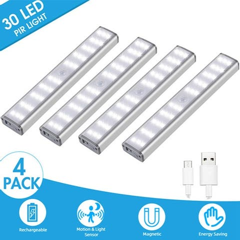 30 LED Rechargeable Wireless Motion Sensor Light Lamp Closet Kitchen Light Nightlight Bar Stick-on