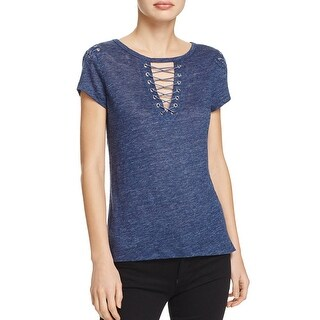 Generation Love Womens Hugo Casual Top Linen Lace Up