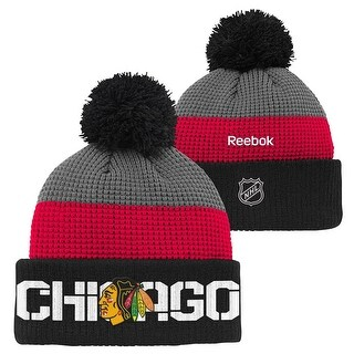 Chicago Blackhawks Center Ice Waffle Cuffed Pom Knit Hat