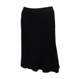 Anne Klein Women's Ribbed Knit A-Line Skirt - Black