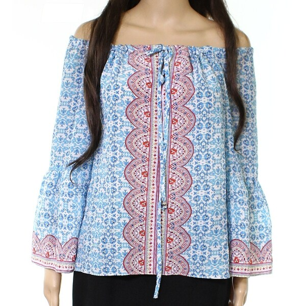 7f5564e6845a6 Shop Nanette Lepore Blue Womens Size 6 Floral-Print Off-Shoulder ...