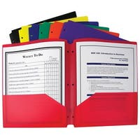 C-Line 2-Pocket Portfolio Folder, 3-Hole Punched, Assorted Primary Colors