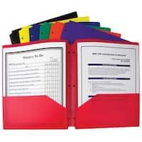 C-Line Poly Portfolio Folder, 3-Hole Punch, 2-Pocket, Assorted Primary Colors