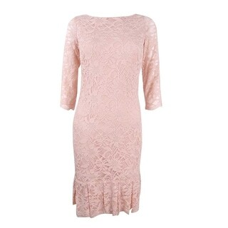 Calvin Klein Women's Petite Lace Pleated Sheath Dress - blush