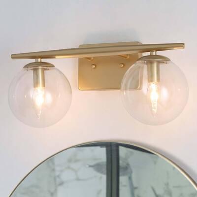 "Modern Gold 2-light Bathroom Vanity Lights Globe Glass Shade Wall Sconces - L 16"" x W 6.5"" x H 8"""