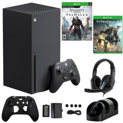 Xbox Series X 1TB Console with Accessories Kit, Assassins Creed Valhalla and Titanfall 2 Games - Black