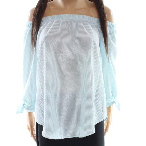 Moa Moa Blue Women's Size Small S Striped Off Shoulder Blouse