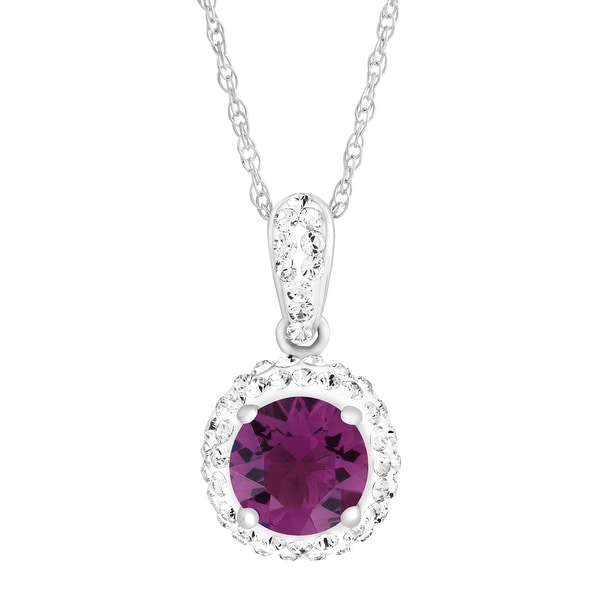 Crystaluxe February Pendant with Purple Swarovski Crystals in Sterling Silver