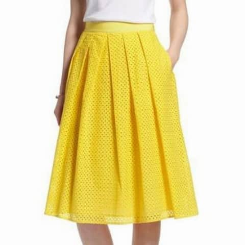 1901 NORDSTROM Yellow Womens Size 8P Petite Eylet A-Line Skirt