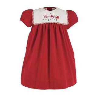Little Girls Red White Lace Trim Reindeer Short Sleeved Christmas Dress