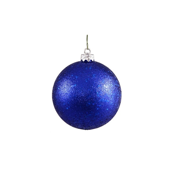 "Shatterproof Lavish Blue Holographic Glitter Christmas Ball Ornament 4"" (100mm)"