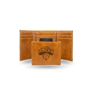 4 Brown NBA New York Knicks Laser Engraved Trifold Wallet N A