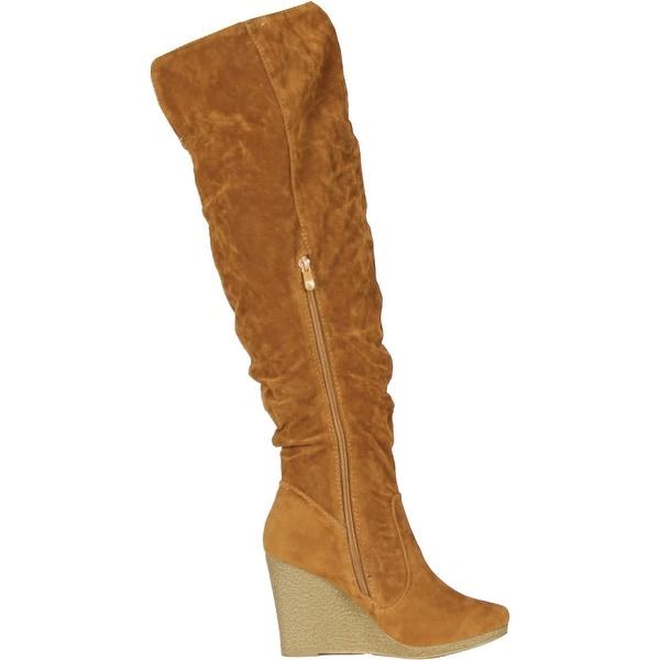 Tall Boots On Wedge Heels - Tan