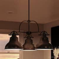 "Luxury Industrial Chandelier, 15""H x 24""W, with Americana Style, Nostalgic Design, Parisian Bronze Finish"